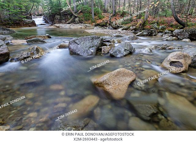 The Baby Flume in Franconia Notch State Park of Lincoln, New Hampshire USA during the spring months. This natural feature is located on the Pemigewasset River...