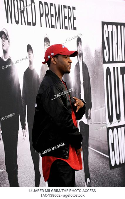 Chauncey Hollis aka Hit-Boy attends the Straight Outta Compton world premiere at L.A. Live on August 10th, 2015 in Los Angeles, California