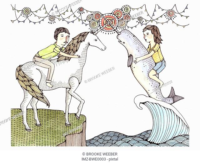 A man on a unicorn and a woman on a beluga whale with a unicorn horn