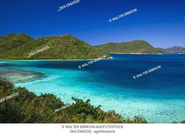 U. S. Virgin Islands, St. John, Leinster Bay, elevated bay view