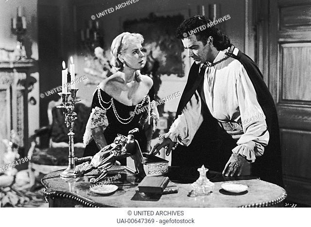 DIE BURG DER VERRÄTER / Star of India England 1953 / Arthur Lubin CORNEL WILDE (Pierre St.Laurent), JEAN WALLACE (Katrina) in 'Die Burg der Verräter'