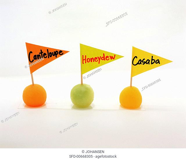 Three Melon Balls with Name Flags