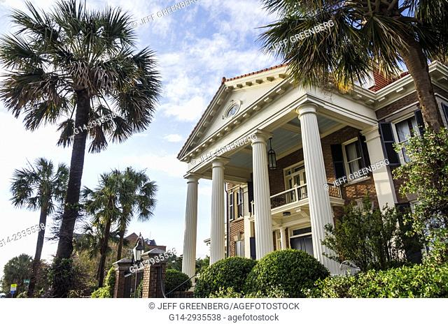 South Carolina, SC, Charleston, South Battery, Colonial Greek Revival, architecture, house, portico, columns, garden, palm tree, historic, residences, homes