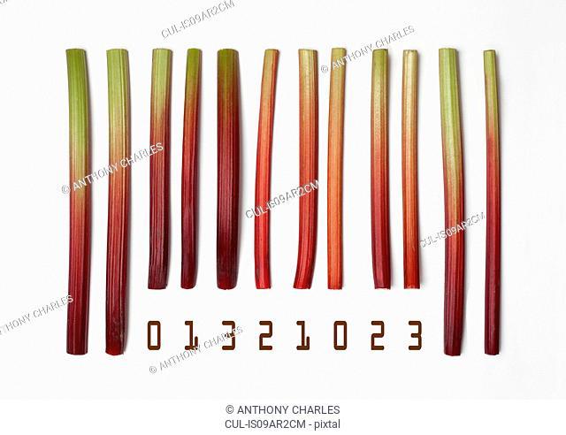 Barcode made with rhubarb sticks