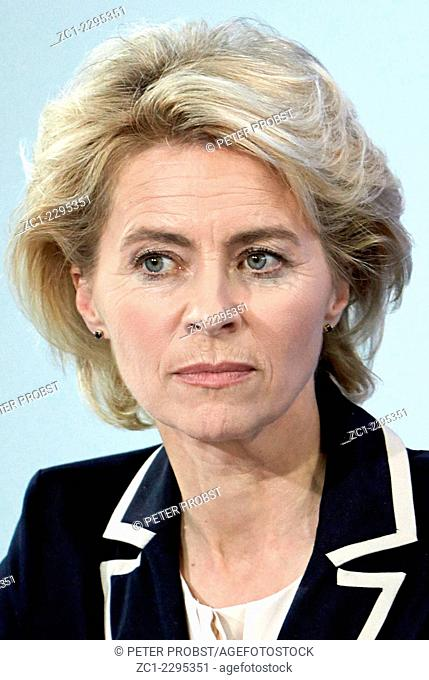 Ursula von der Leyen - 08.10.1958: German politician of the CDU and the Federal Minister of Defence since December 2013 - Caution: For the editorial use only