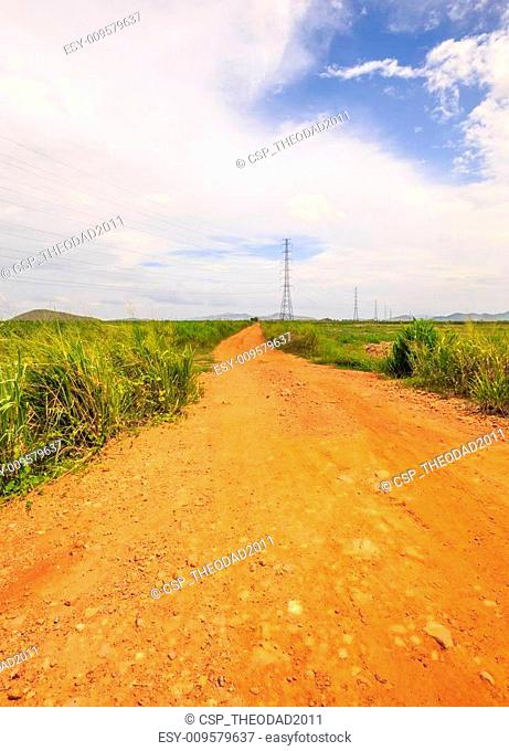 Unpaved road into the rural area
