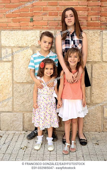 .children of various ages with a bottom wall