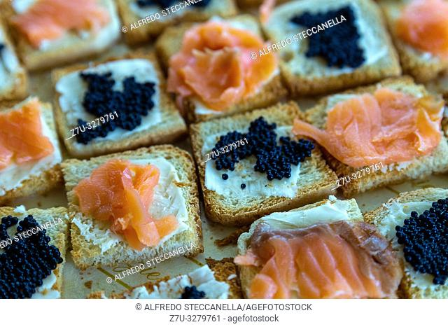 Detail photo of salmon canapes and caviar