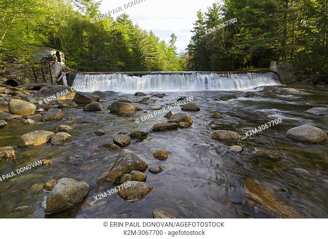 Parker's Dam along the Pemigewasset River in North Woodstock, New Hampshire during the spring months. This is the site of an old mill dating back to the logging...