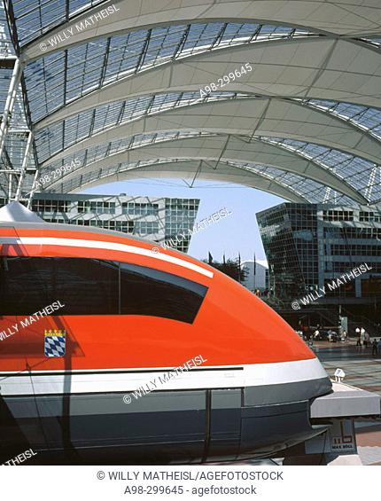 Magnetschwebebahn (Magnetically levitated train). Munich airport, terminal 2. Bavaria. Germany