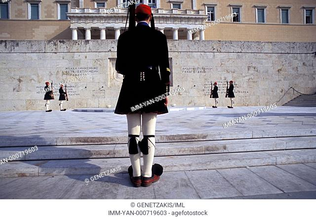 Syntagma, Parliament, Monument of the Unknown Soldier, change of the presidential guards , Athens, Attica, Greece