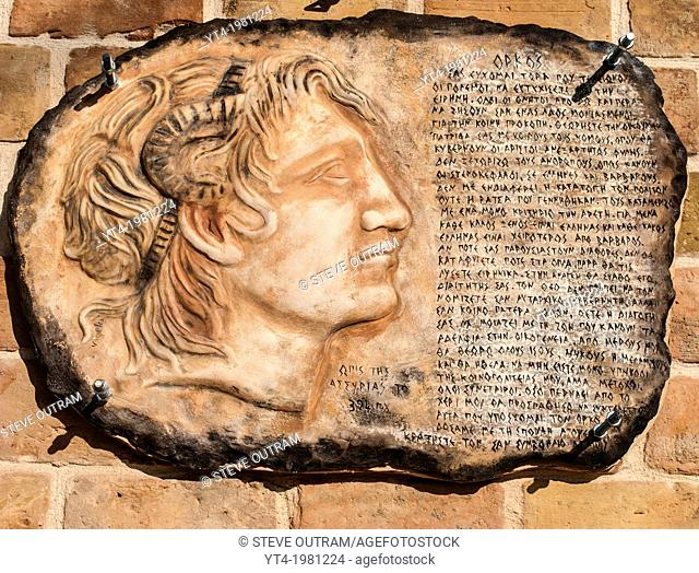 Stone Carving of Alexander The Great, Crete, Greece