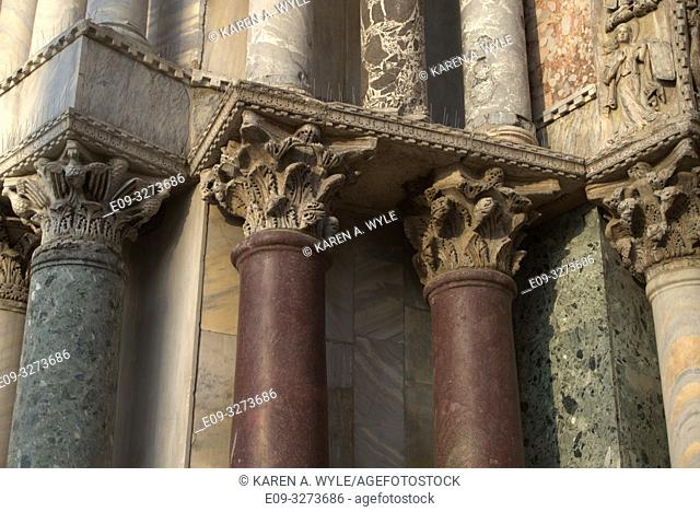 colored marble columns, Piazza San Marco, Venice, Italy