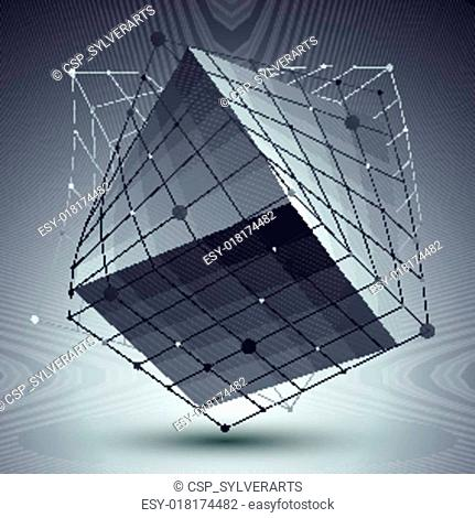 Abstract 3D structure polygonal vector network pattern, grayscal