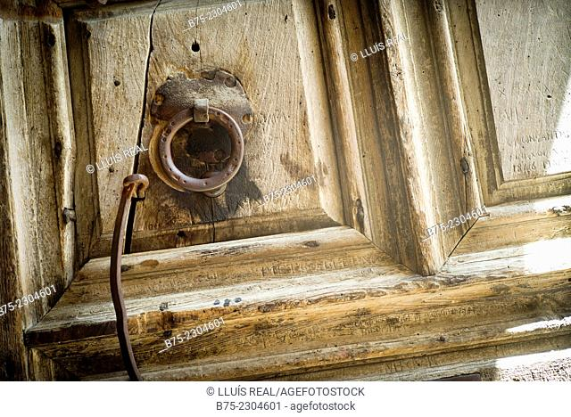 The door handle of the main entrance of the temple The Holy Sepulchre in Jerusalem, Israel, Middle East