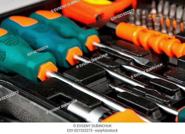 Set of tools in black box