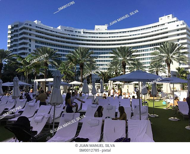 Pool area at the Fontainebleau Hotel