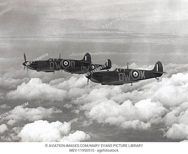 RAF 610 Sqn Supermarine Spitfire 1 Formation Based at Biggin Hill and Gravesend During the Battle-Of-Britain Flying over Cloud