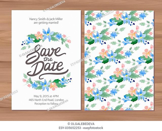 Save the date wedding invitation with watercolor flowers and hand drawn lettering. Card template on a wooden background. Illustrator swatch for seamless...