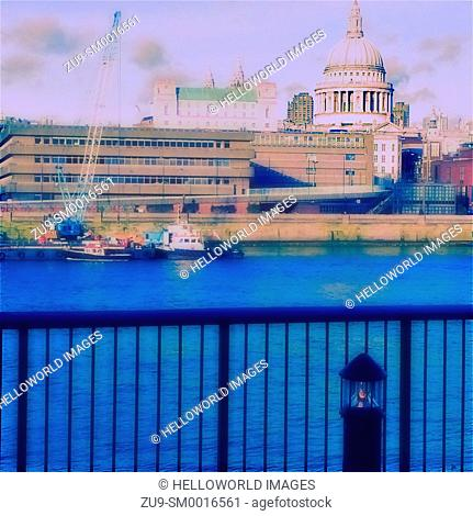 St Paul's Cathedral and river Thames, London, England, Europe