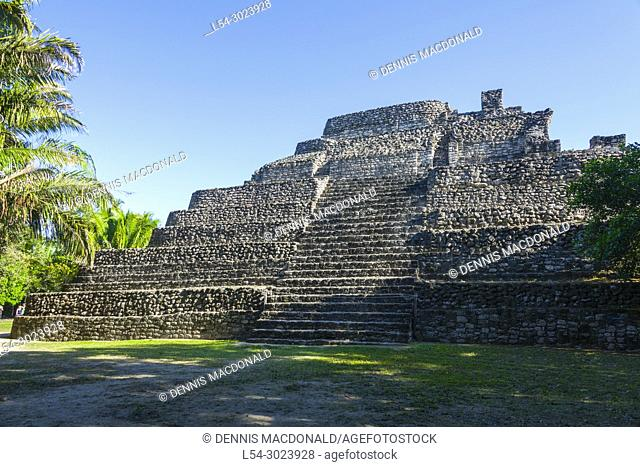 Chacchoben Myan ruins early city at the Cruise destination Costa Maya Mexico in Central America is a popular stop on the Western Caribbean cruise ship tour and...