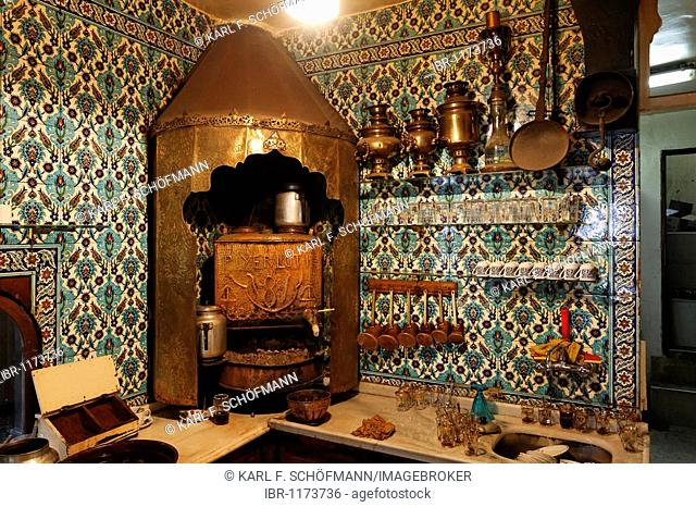 Historical Turkish coffee kitchen in the cafa Pierre Loti, Eyuep village, Golden Horn, Istanbul, Turkey