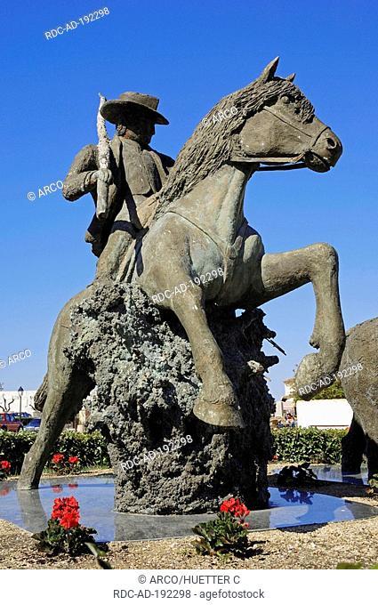 Statue of guardian on Camargue Horse, Les Saintes-Maries-de-la-Mer, Camargue, Bouches-du-Rhone, Provence-Alpes-Cote d'Azur, Southern France
