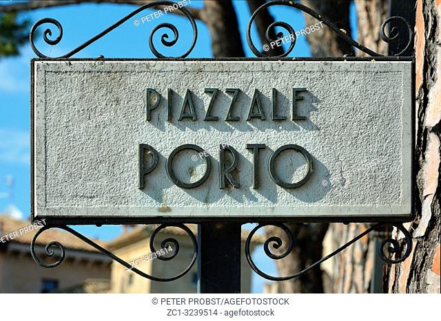 Street sign of the square Piazzale Porto in the historic centre of Sirmione - Italy