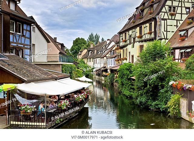 Restarants on the canal, Quartier de la Krutenau, La Petite Venise, Colmar, Haut-Rhin , France