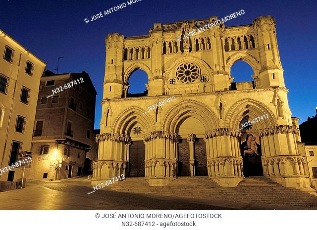 The cathedral at Dusk, Cuenca, (World Heritage). Castilla-La Mancha, Spain