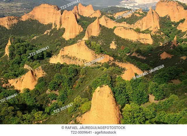 District of El Bierzo (Spain). Las Médulas landscape environment of the old Roman gold mining