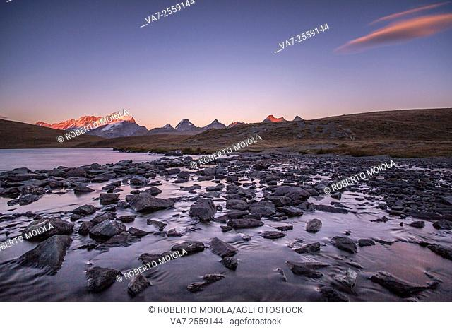 Sunset on Rosset lake at an altitude of 2709 meters. Gran Paradiso national park