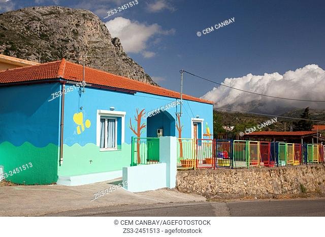 Primary school at the mountain village of Spili, Rethymno Region, Crete, Greek Islands, Greece, Europe