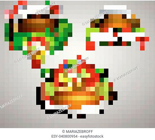 Vector realistic illustration of wooden christmas board set with christmas tree Cardinal birds and decorations