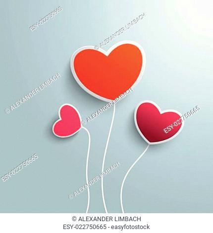 Three Colored Hearts Valentines