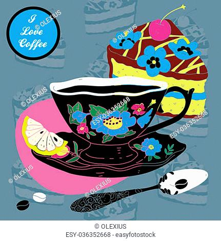 Vector Elegant Cup of Coffee Card Illustration With Spoon and Lemons