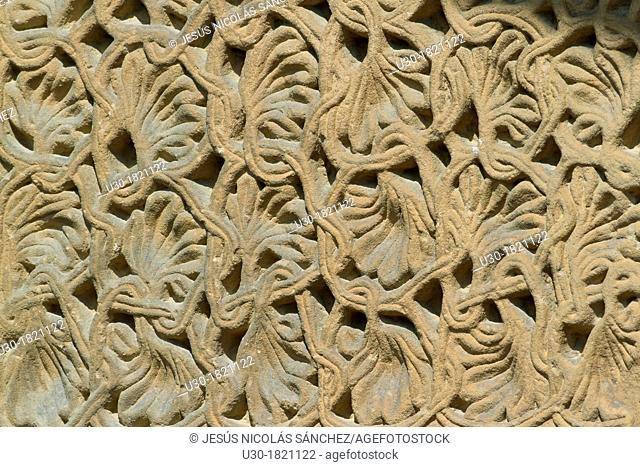 Detail of decorative motif of San Pedro collegiate, in Cervatos village, Campoo de Enmedio, considered as one of the most important romanesque churches of...