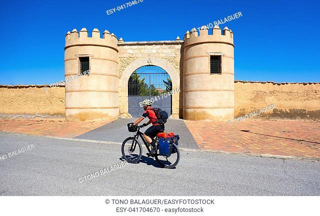 Minaya bicycle pilgrim at way of Saint James Levante in Castile La Mancha