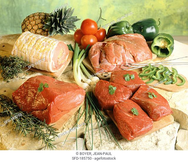Still life with several types of meat
