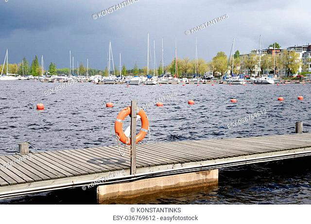 View of Saimaa lake and Lappeenranta port. Lappeenranta - city and municipality in Finland, in the province of Eastern Finland