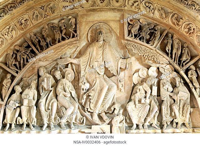 Portal in Church Sainte Marie Madeleine Basilica of St. Magdalene, Vezelay, Yonne department, Burgundy, France