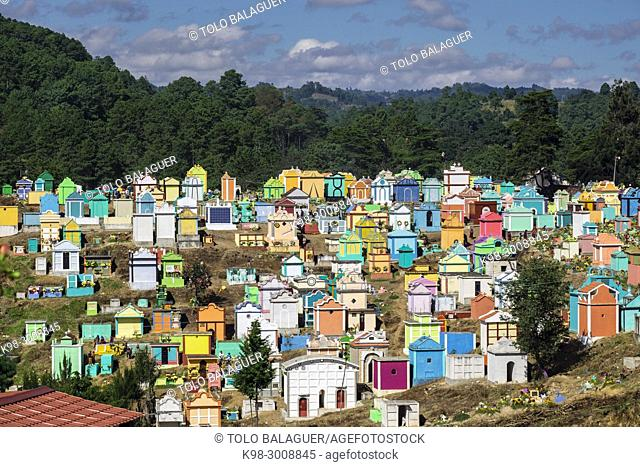 Colorful tombs, celebration of the day of the dead in Cementerio General, Santo Tomas Chichicastenango, Republic of Guatemala