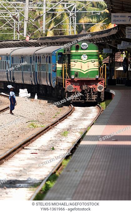 Kannur Express arriving at Ernakulam Town Station in Cochin,Kerala,India