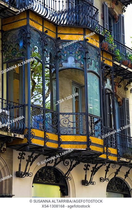 Modernist Balcony in Casa Ramon Oller, Catalan Art Nouveau. Builded in 1871 by Eduard Fontseré and reformed in 1901 by Pau Salvat i Espasa
