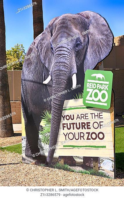 Giant lifesize elephant sign outside Reid Park Zoo in Tucson Arizona