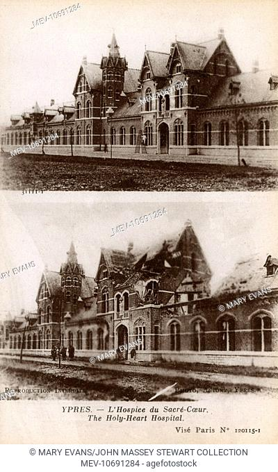 WWI - Ypres, Belgium - The Sacred Heart Hospital - Before and After shelling damage
