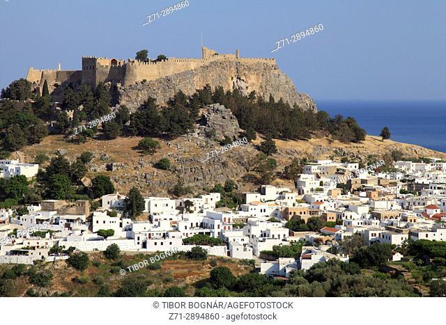 Greece, Dodecanese, Rhodes island, Lindos town,