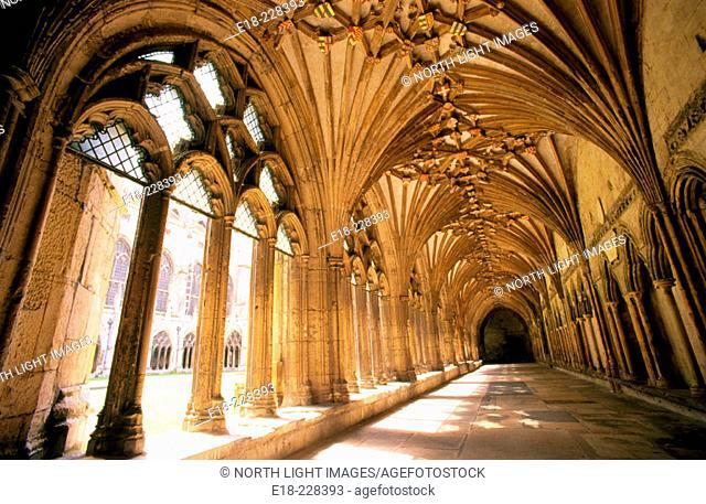 Cloister of teh Canterbury Cathedral. Kent. UK