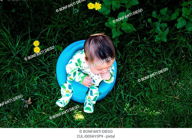 Overhead view of baby boy sitting in garden on baby support seat