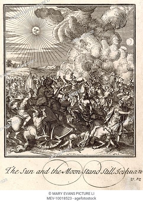 Joshua commands the sun & moon to stand still while he defends the city of Gibeon (allied with the Israelites) against the five kings of the Amorites